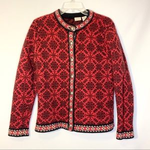 LL Bean Snowflake Red and Black Cardigan Size L